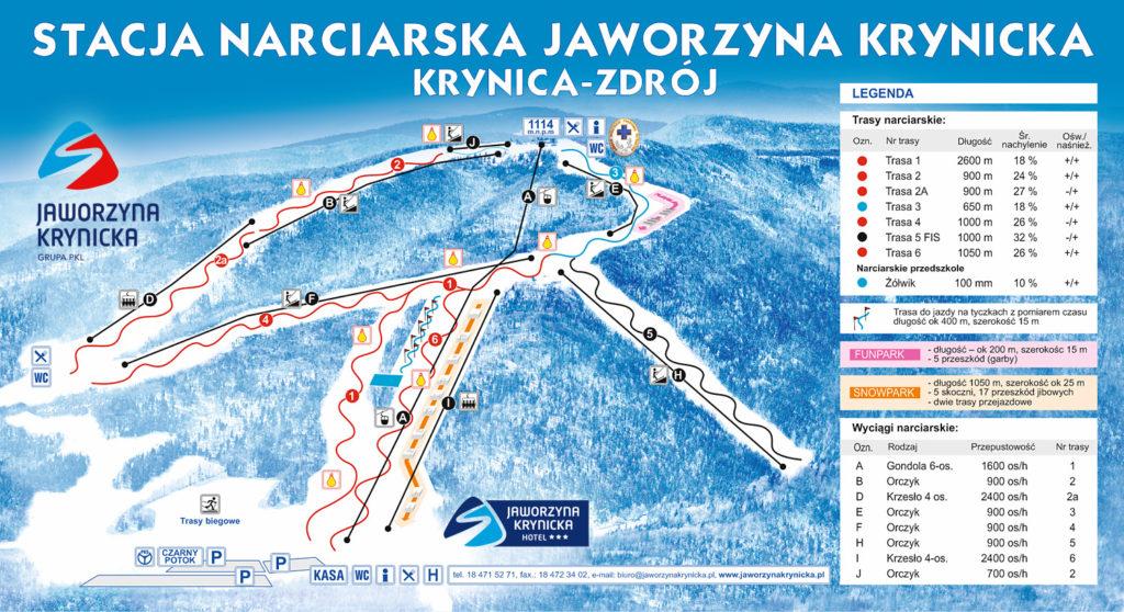 Mapa Tras Narciarskich - Jaworzyna Krynicka